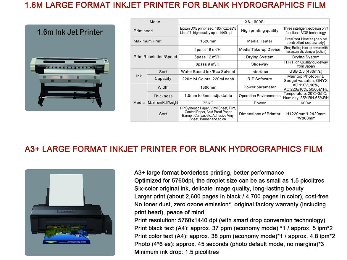 inkjet printer for blank hydrographic film