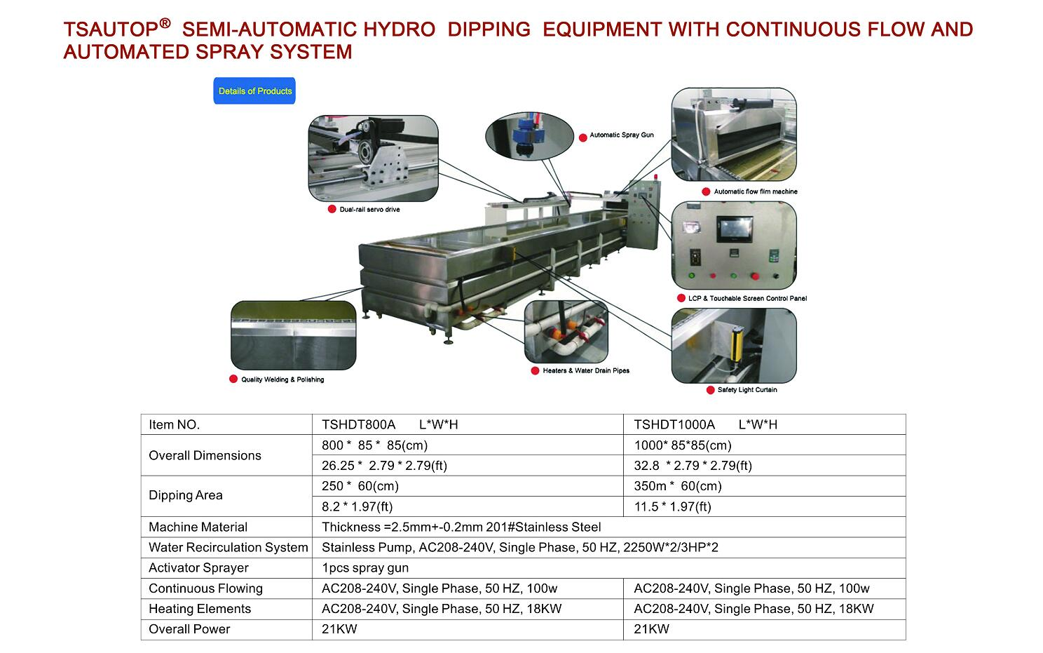 semi-automatic hydro dipping equipment