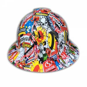 Sticker bomb hydro dipping hard hats